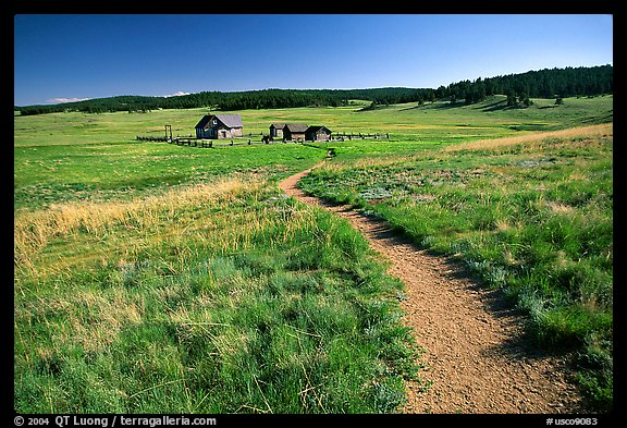Trail and historic barns,  Florissant Fossil Beds National Monument. Colorado, USA