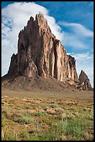 Shiprock, spring morning. Shiprock, New Mexico, USA