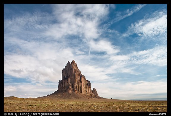 Shiprock volcanic plug raising above plain. Shiprock, New Mexico, USA (color)