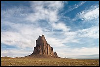 Shiprock volcanic plug raising above plain. Shiprock, New Mexico, USA