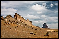 Golden wall and Shiprock. Shiprock, New Mexico, USA