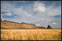 Serrated volcanic ridge leading to Shiprock. Shiprock, New Mexico, USA
