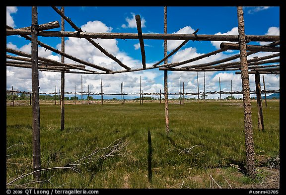 Drying rack in field. Taos, New Mexico, USA