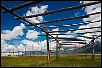Wooden drying racks. Taos, New Mexico, USA