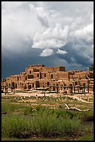 Largest multistoried Pueblo structure. Taos, New Mexico, USA (color)