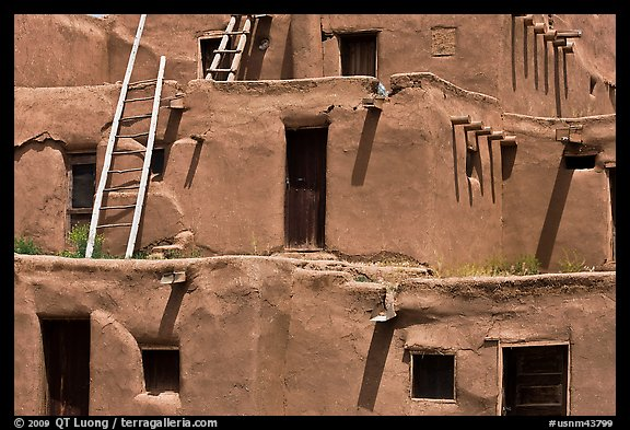 Detail of ancient earthen homes of Native Americans. Taos, New Mexico, USA