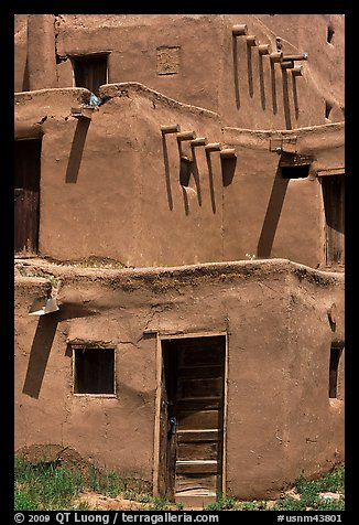 Traditional adobe construction. Taos, New Mexico, USA (color)
