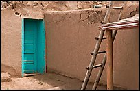 Blue door and ladder. Taos, New Mexico, USA