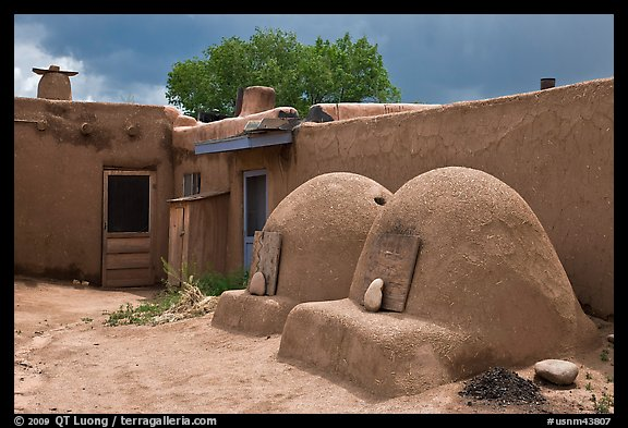 Traditional pueblo ovens. Taos, New Mexico, USA (color)