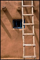 Ladder, Vigas, and blue window. Taos, New Mexico, USA ( color)