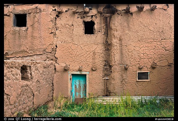 Old adobe walls. Taos, New Mexico, USA (color)