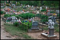 Tombs seen from the back, cemetery. Taos, New Mexico, USA ( color)