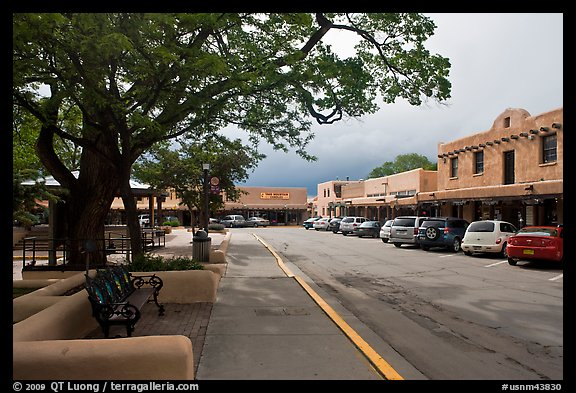 Plazza and shops. Taos, New Mexico, USA (color)