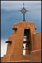 Church Bell tower in adobe style. Taos, New Mexico, USA (color)