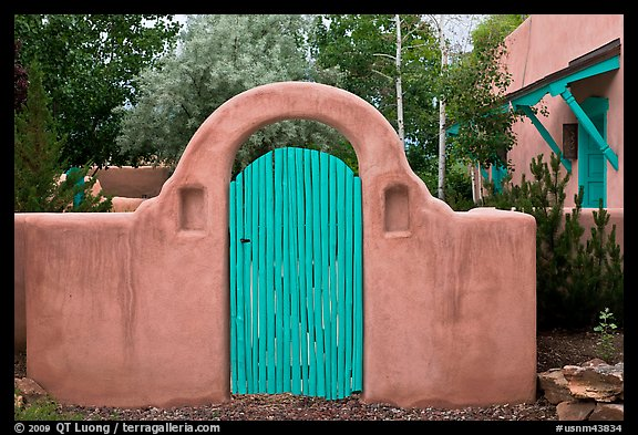 Blue door and adobe yard wall. Taos New Mexico USA & Picture/Photo: Blue door and adobe yard wall. Taos New Mexico USA Pezcame.Com