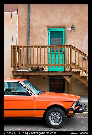 Car and adobe house detail. Taos, New Mexico, USA (color)