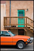 Car and adobe house detail. Taos, New Mexico, USA ( color)