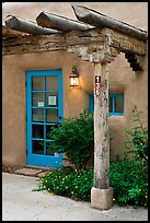 Blue door and window at house entrance. Taos, New Mexico, USA ( color)