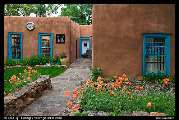 Front yard and pueblo style houses. Taos, New Mexico, USA