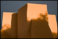 Massive adobe walls and buttresses of San Francisco de Asisis church, Rancho de Taos. Taos, New Mexico, USA (color)