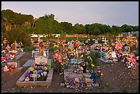 Cemetery at sunset, Rancho de Taos. Taos, New Mexico, USA (color)