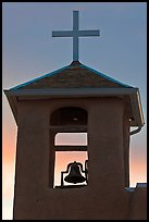Bell tower at sunset, San Francisco de Asisis church, Rancho de Taos. Taos, New Mexico, USA ( color)