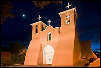 Church San Francisco de Asisis at night, Rancho de Taos. Taos, New Mexico, USA (color)
