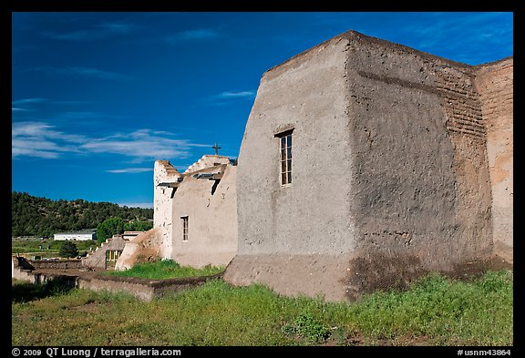 Rear of San Lorenzo Church, Picuris Pueblo. New Mexico, USA