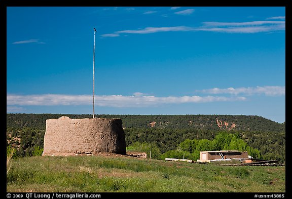 Round house kiva and homes, Picuris Pueblo. New Mexico, USA (color)