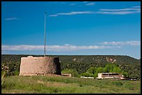 Round house kiva and homes, Picuris Pueblo. New Mexico, USA ( color)