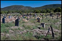Headstones in grassy area, cemetery, Picuris Pueblo. New Mexico, USA ( color)