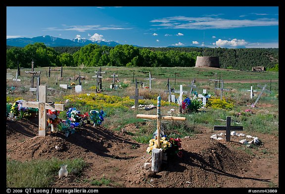 Cemetery and kiva, Picuris Pueblo. New Mexico, USA (color)