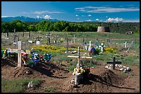 Cemetery and kiva, Picuris Pueblo. New Mexico, USA ( color)