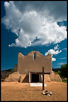 Adobe church and clouds, Picuris Pueblo. New Mexico, USA ( color)