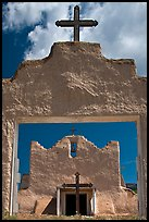 San Lorenzo Church seen through adobe walls, Picuris Pueblo. New Mexico, USA ( color)