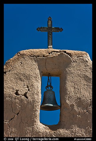 Bell, Cross and adobe wall,  San Lorenzo Church,. New Mexico, USA (color)