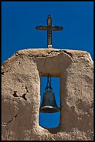 Bell, Cross and adobe wall,  San Lorenzo Church,. New Mexico, USA ( color)