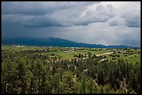 Truchas and Sangre de Christo Mountains with approaching storm. New Mexico, USA