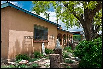 Gallery with sculptures in front yard, Truchas. New Mexico, USA