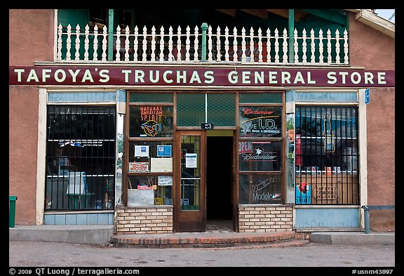 Facade of Tafoya Truchas genereal store. New Mexico, USA (color)