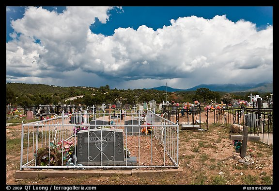 Cemetery and clouds, Truchas. New Mexico, USA (color)