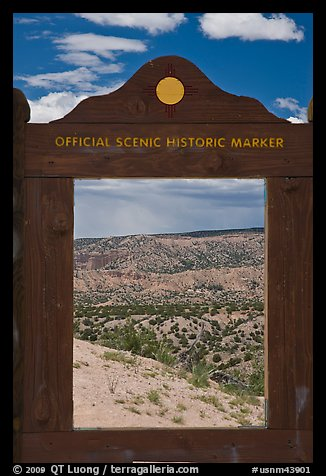 Scenery framed by historic marker. New Mexico, USA