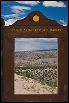 Scenery framed by historic marker. New Mexico, USA (color)