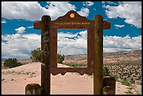 Historic marker framing high desert landscape. New Mexico, USA ( color)