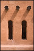 Vigas and deep windows in pueblo style, Sanctuario de Chimayo. New Mexico, USA ( color)