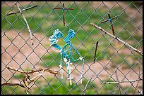 Chain-link fence with rosaries and improvised crosses, Sanctuario de Chimayo. New Mexico, USA ( color)