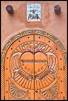 Decorated door, Sanctuario de Chimayo. New Mexico, USA