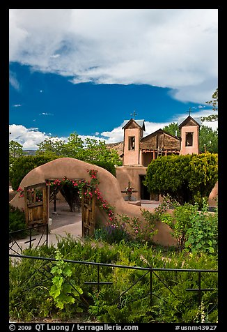 Grounds and shrine, Sanctuario de Chimayo. New Mexico, USA (color)
