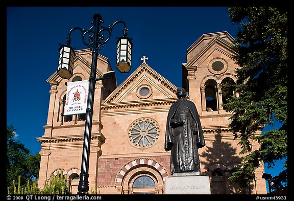 Front of St Francis Cathedral and Archibishop Lamy statue. Santa Fe, New Mexico, USA (color)