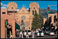Pedestrians and street with cathedral, downtown. Santa Fe, New Mexico, USA (color)